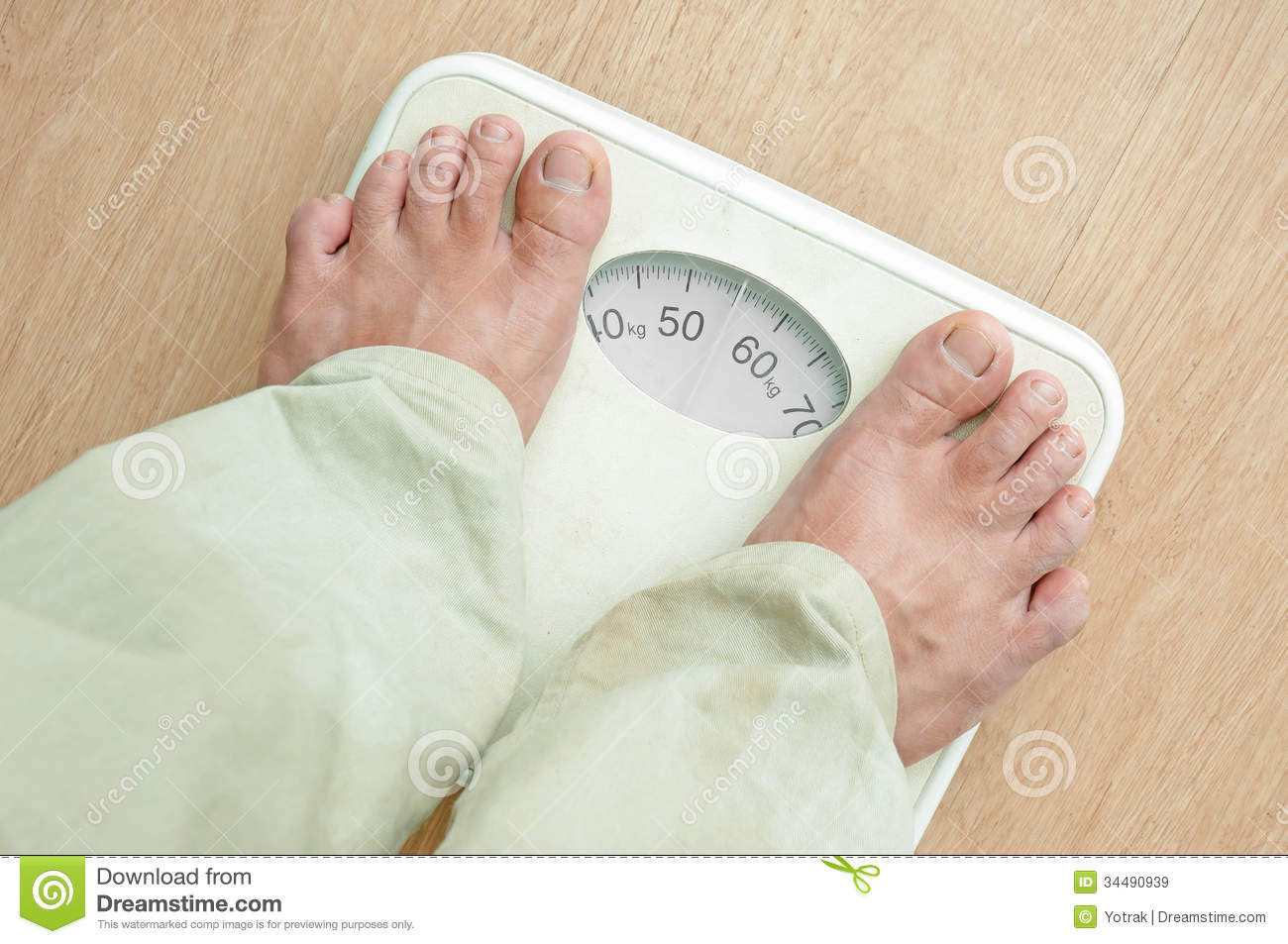 Man Standing On Weight Scales Royalty Free Stock Images