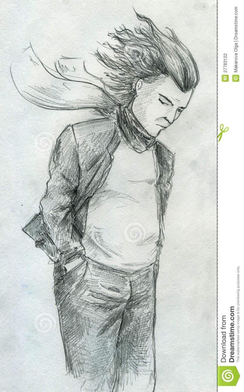 Sad man standing in the wind with his hair disarranged his hands in pockets and his scarf flying pencil drawing sketch