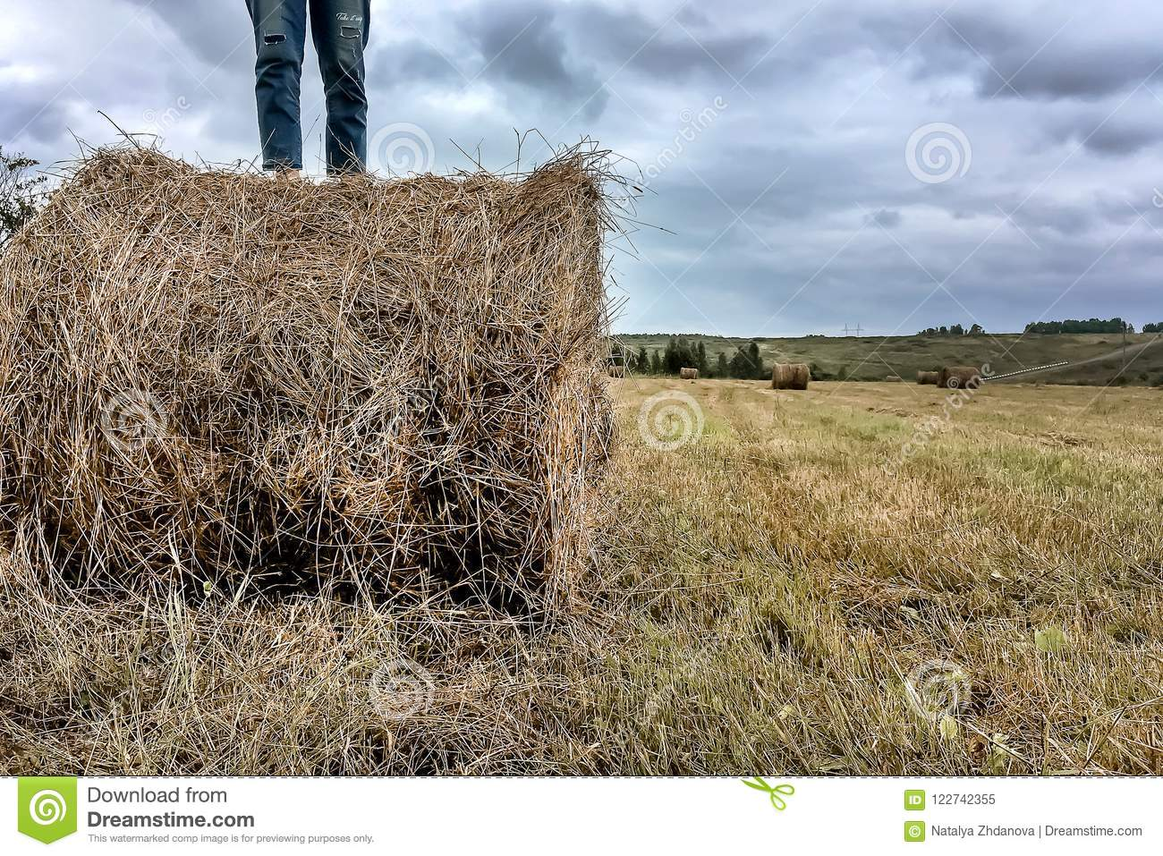 A man stands on a haystack