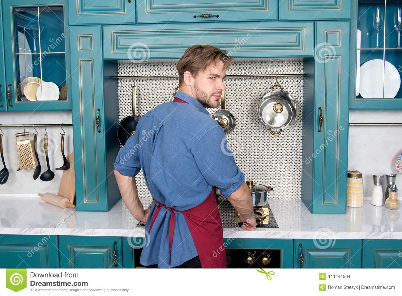 Child Safety In Kitchen Near Stove Stock Photo - Image of