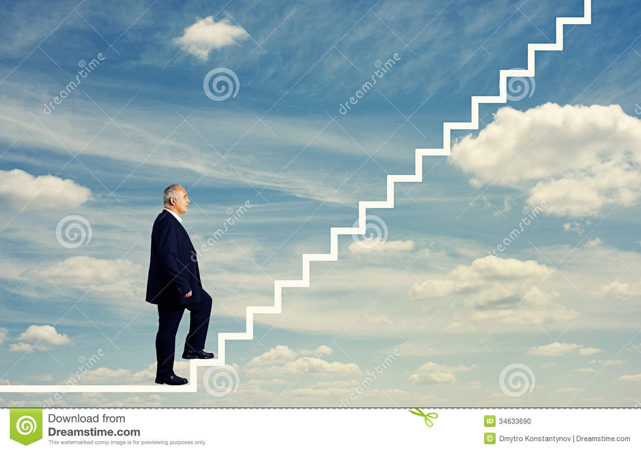 Man stepping up the stairs stock photo. Image of ascent ... Stepping