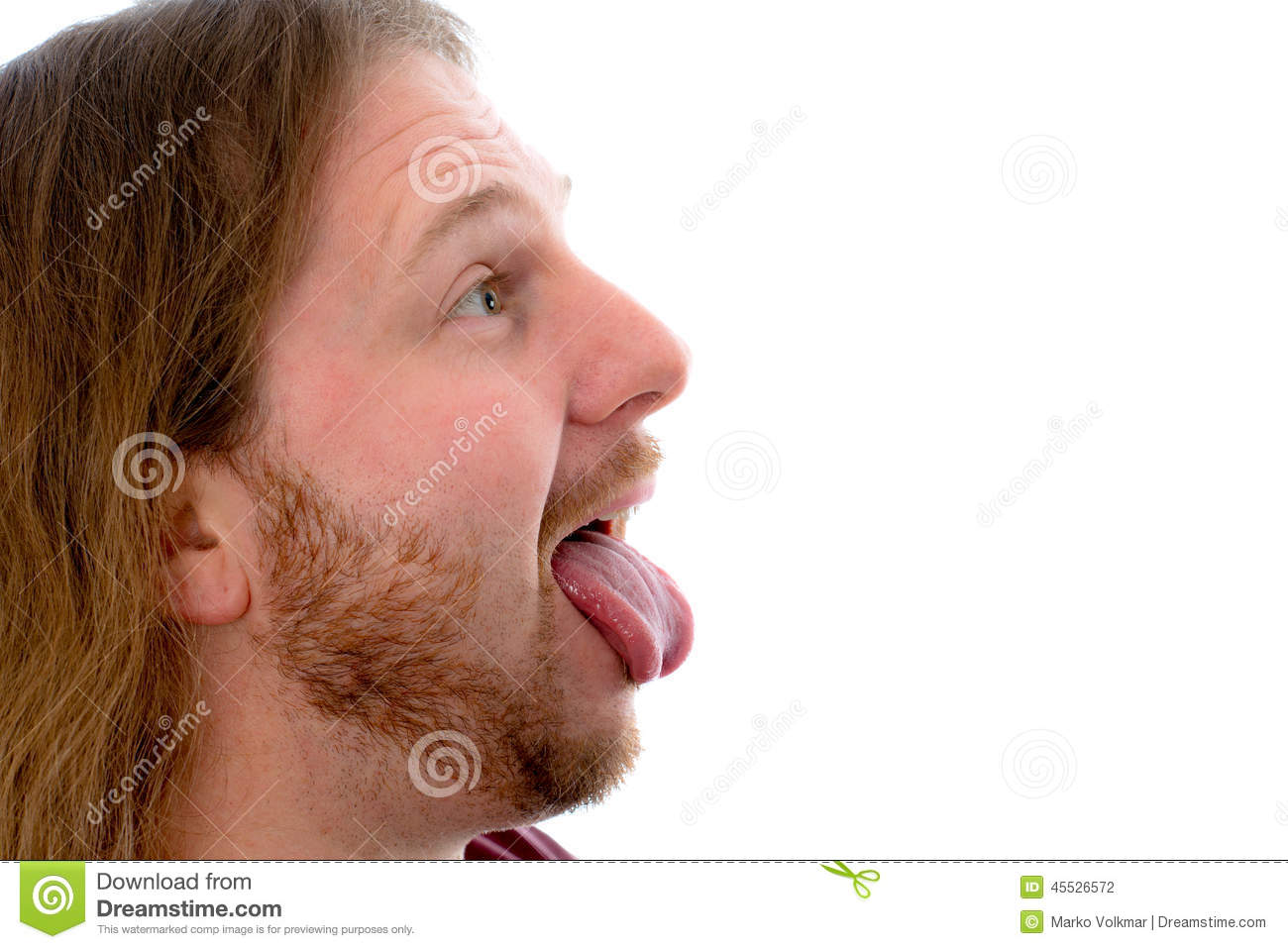 Man stick out the tongue stock photo. Image of beard
