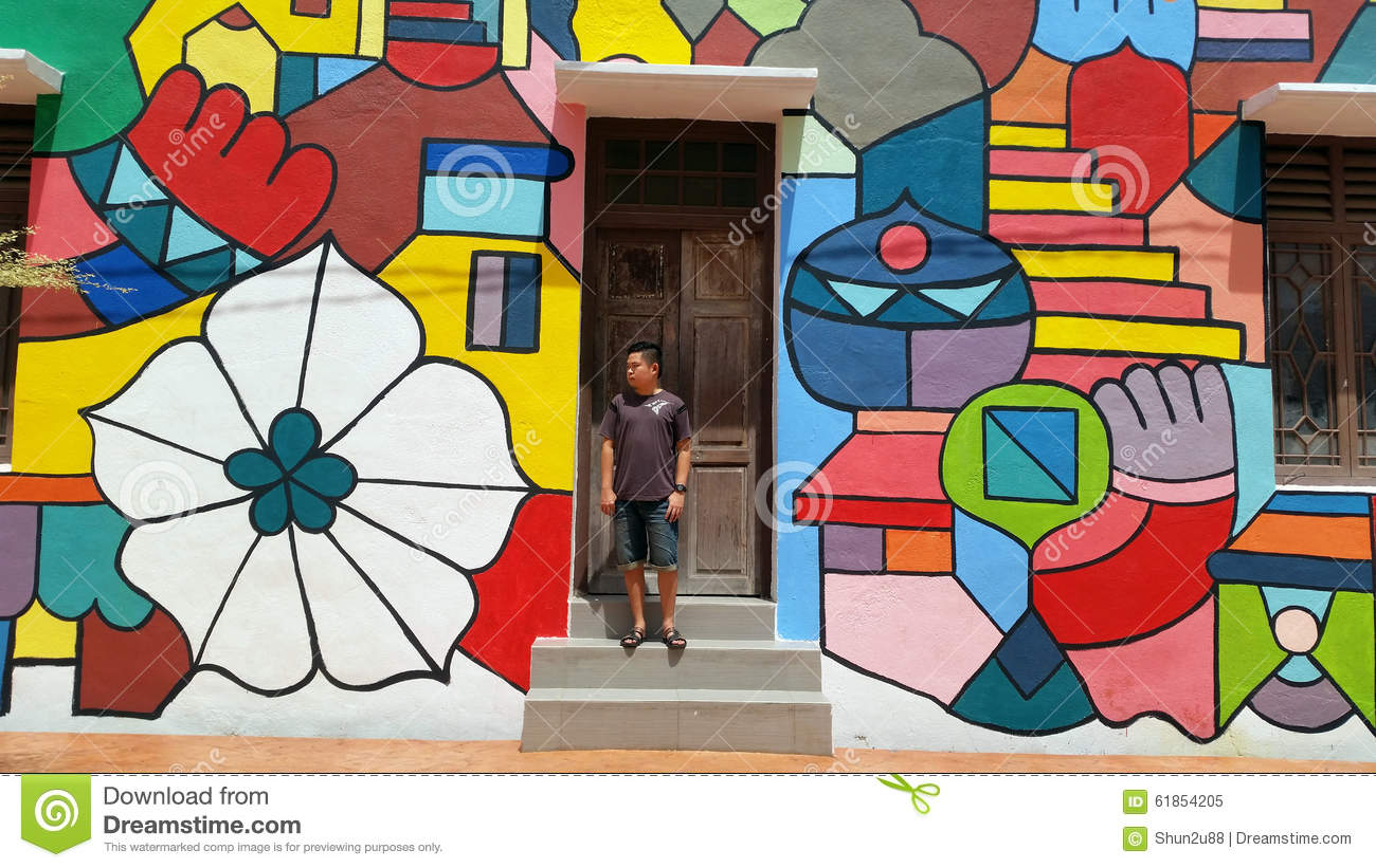 Man at Street Art Melaka stock image. Image of effect - 61854205 for Cool Street Wall Paintings  575cpg