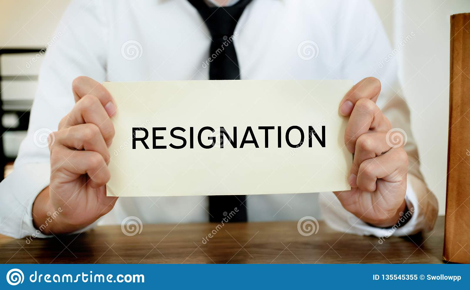 Man stressing with resignation letter for quit a job