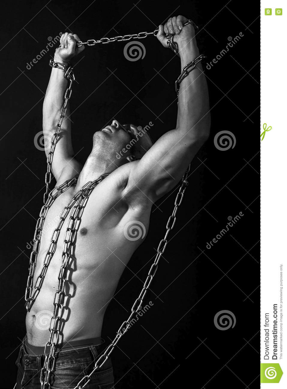 Man With Strong Muscular Arms Pulling The Chain Stock Image Image