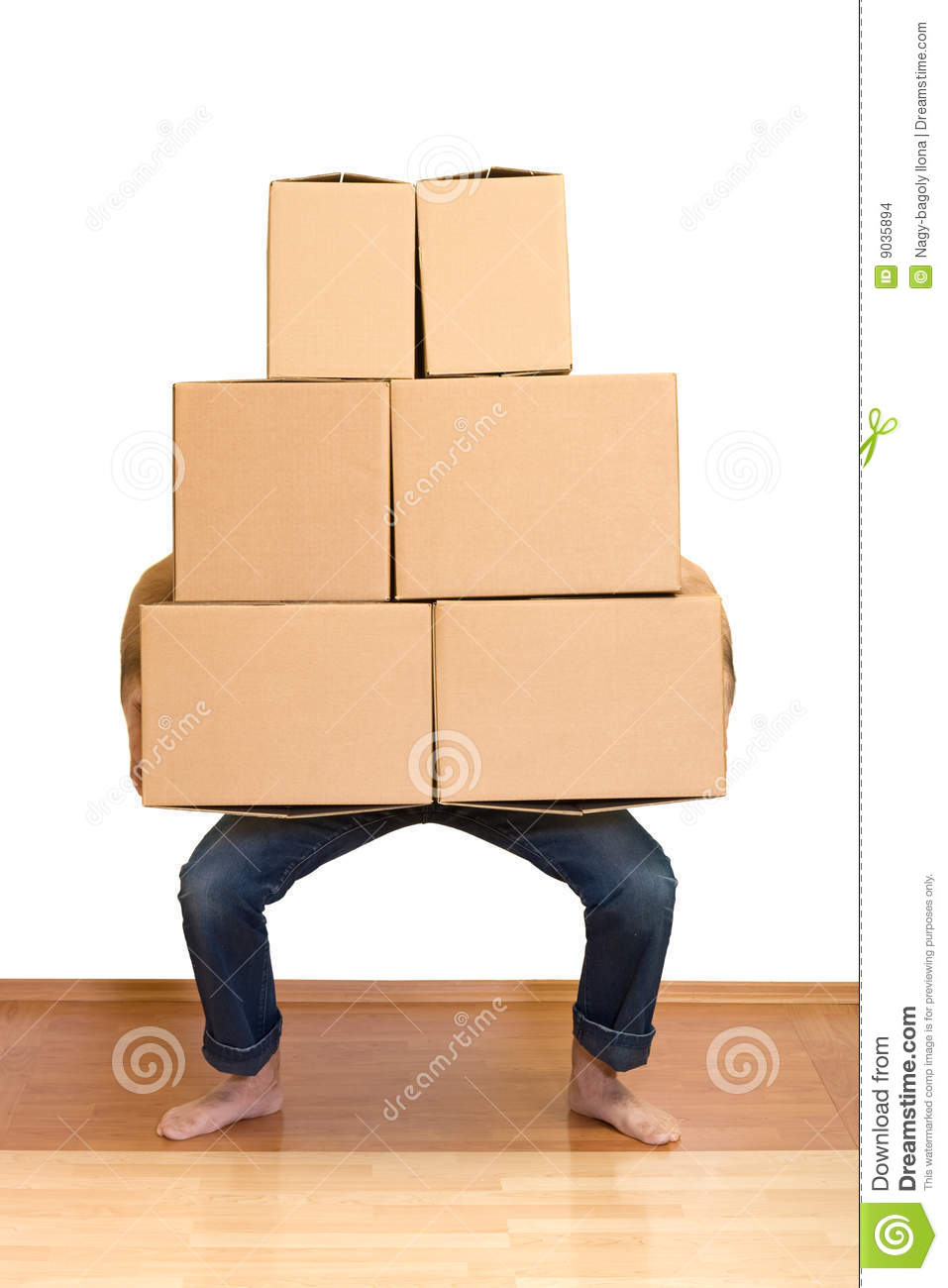 Man Struggling With Lots Of Cardboard Boxes Stock Photo