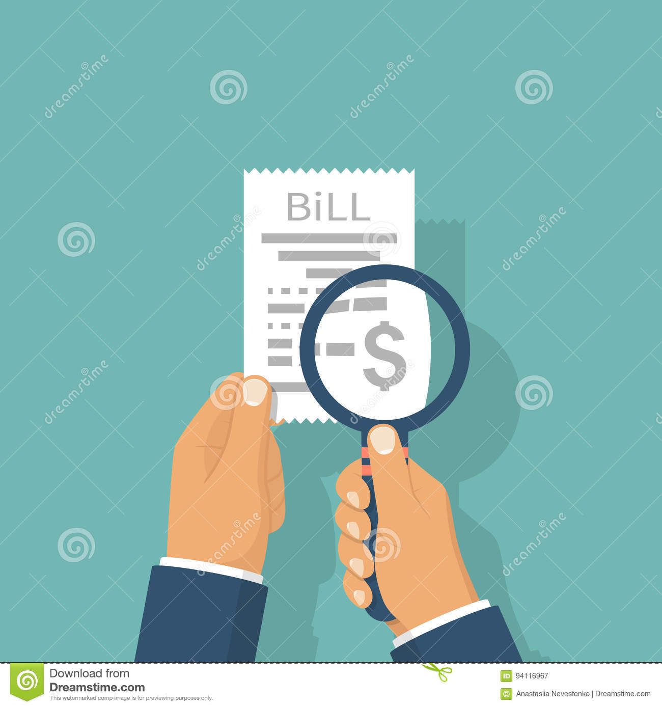 man is studying paying bill stock vector  illustration