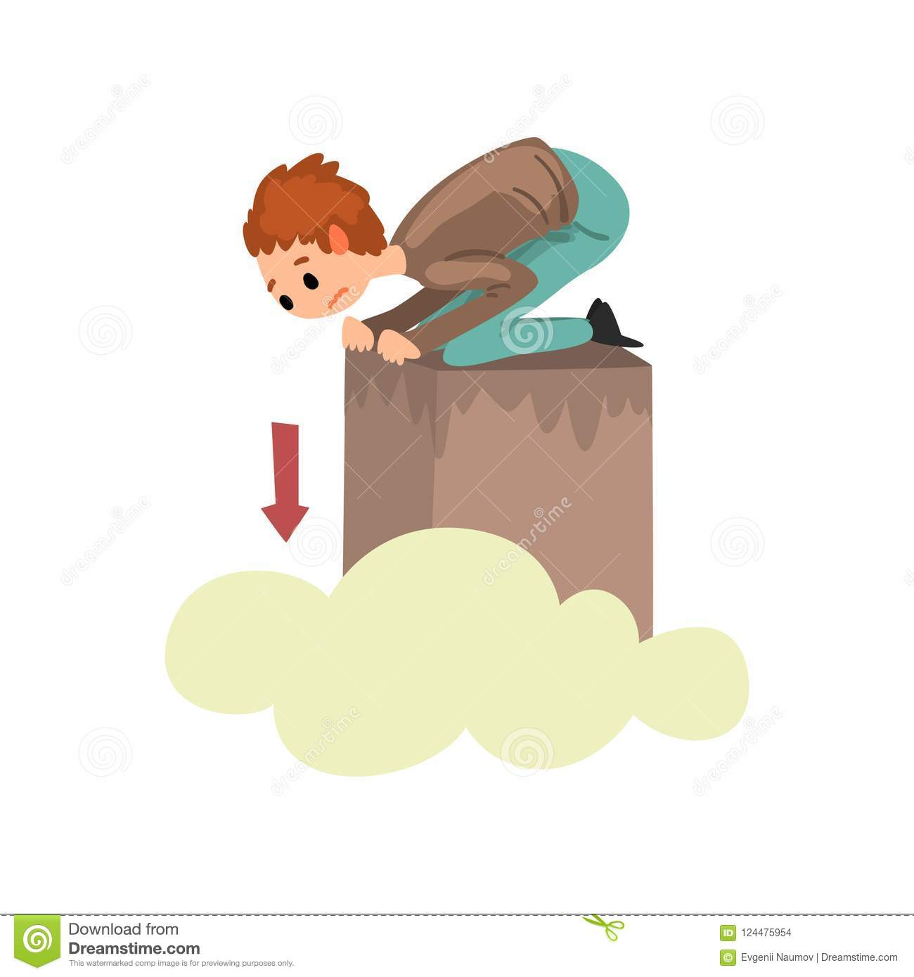 Man suffering from acrophobia, guy feeling fear of heights, human fear concept vector Illustration on a white background