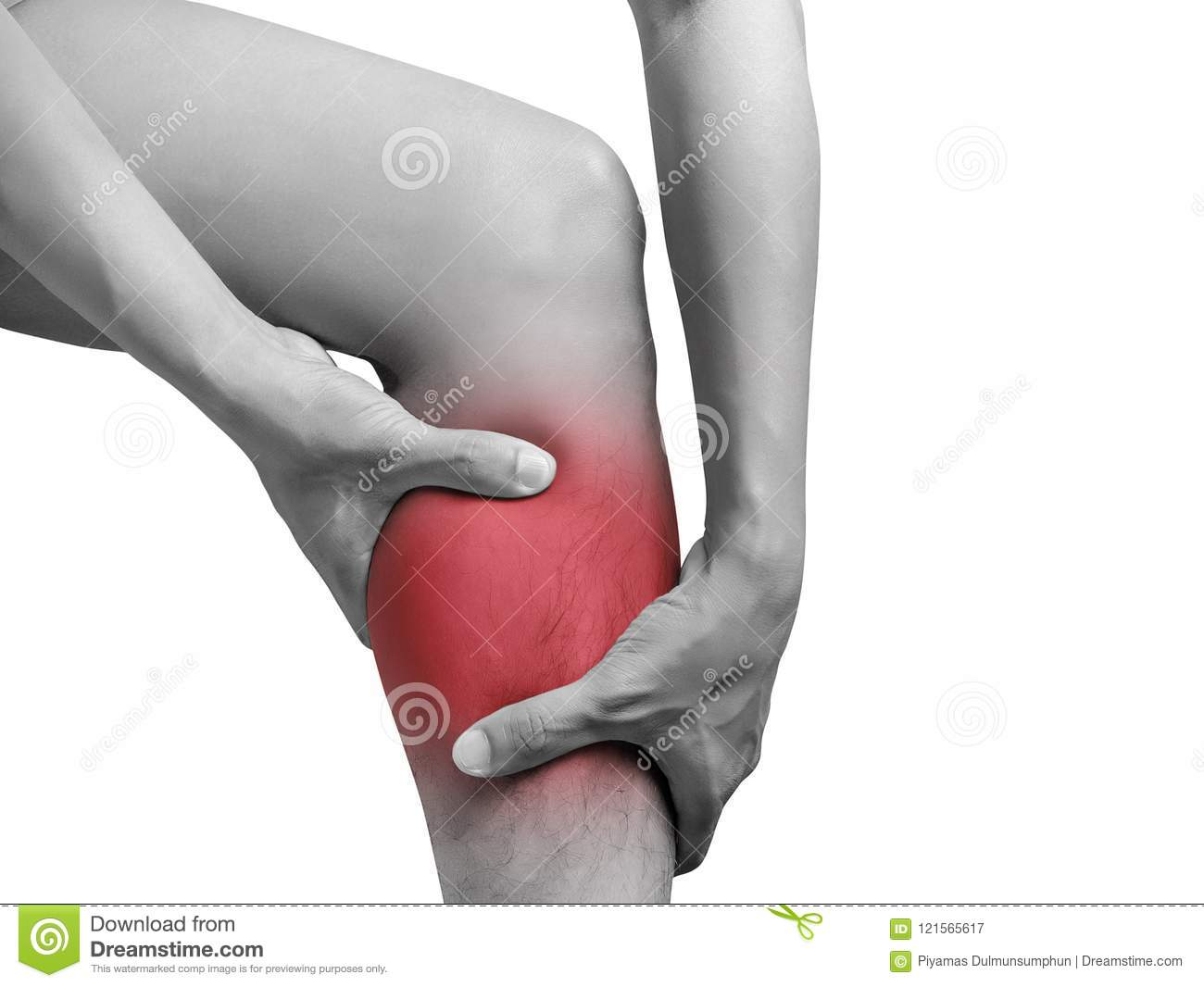 Man suffering from leg pain, calf pain. mono tone red highlight