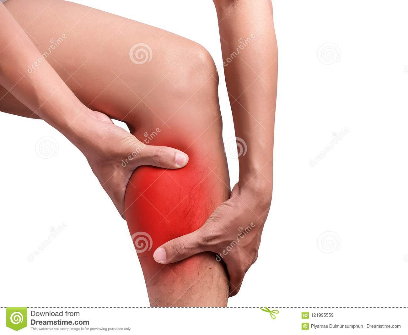 Man suffering from leg pain, calf pain. red color highlight