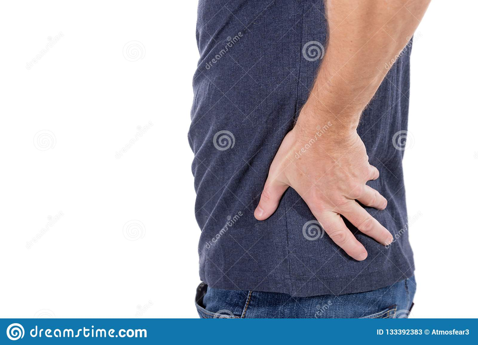 Man suffering from pain in his side. White background. Stomach, liver pain, pancreas, kidneys