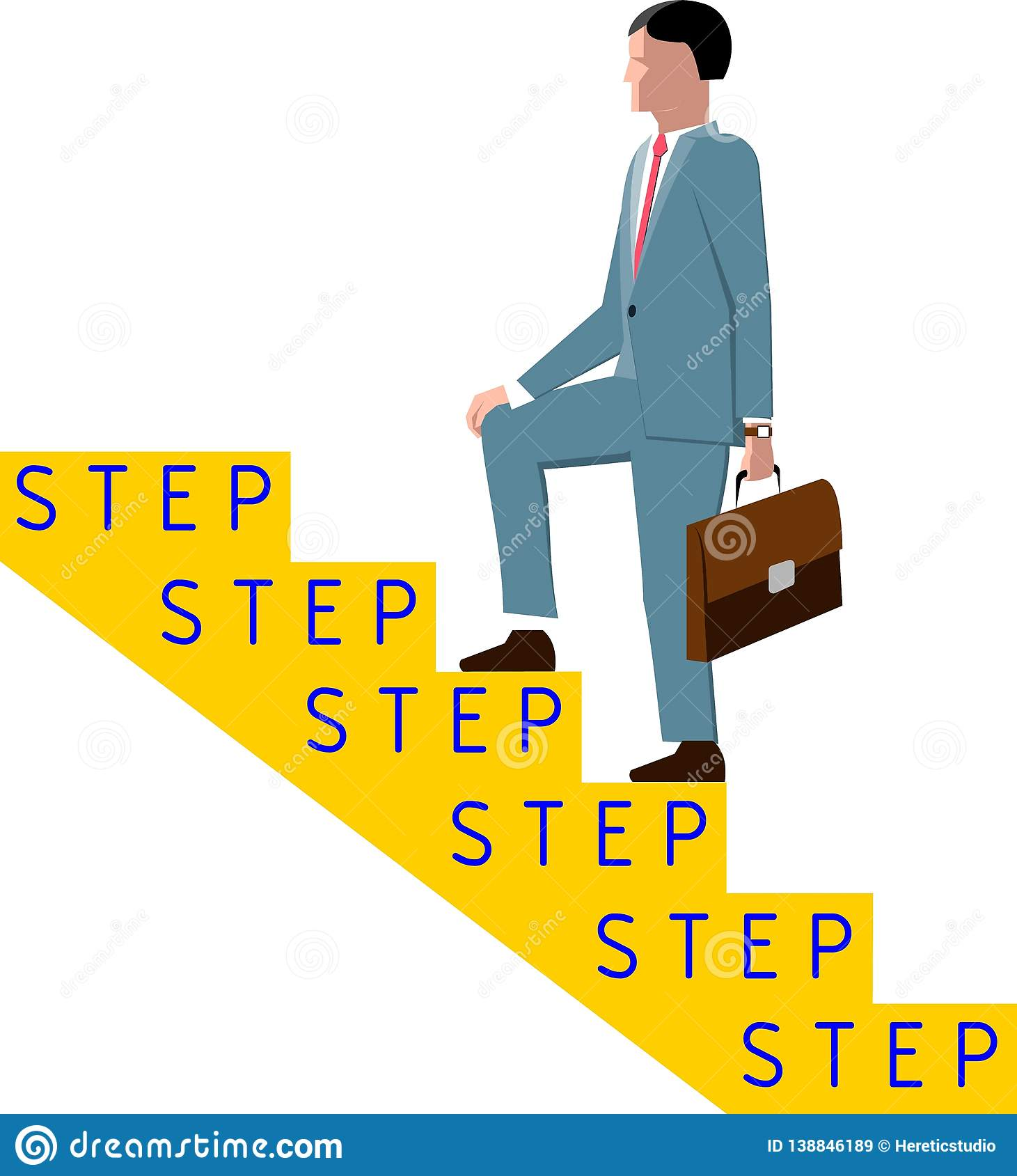 The man in the suit with briefcase up the stairs with inscription `step` for each step