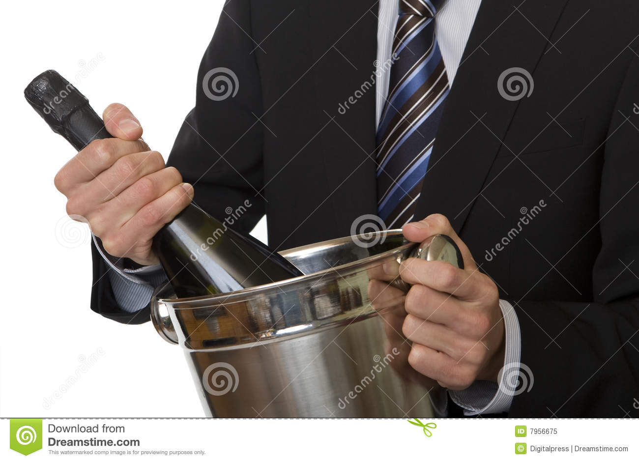 Man with suit champagne bottle in ice-pail