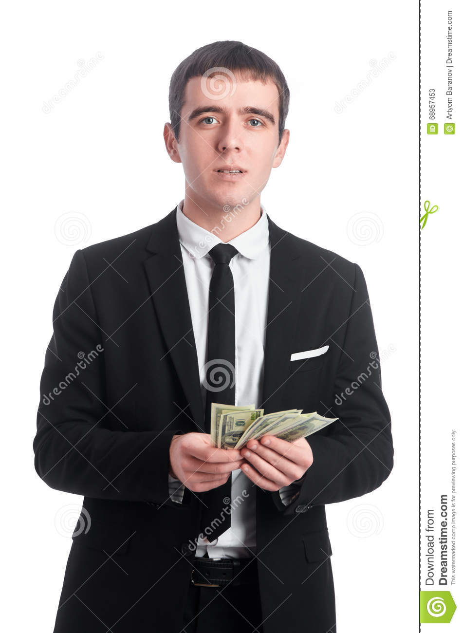 Man in suit counting the money