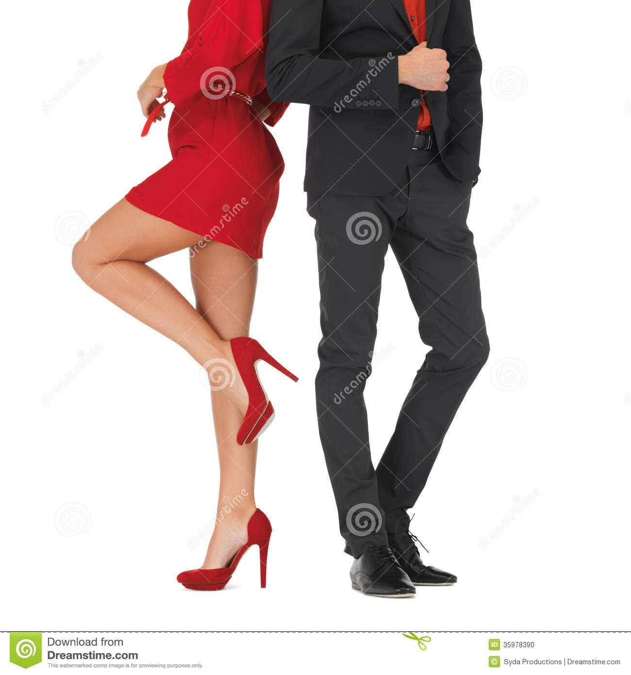 Man In Suit And Woman In Red Dress Stock Photo Image Of Girl