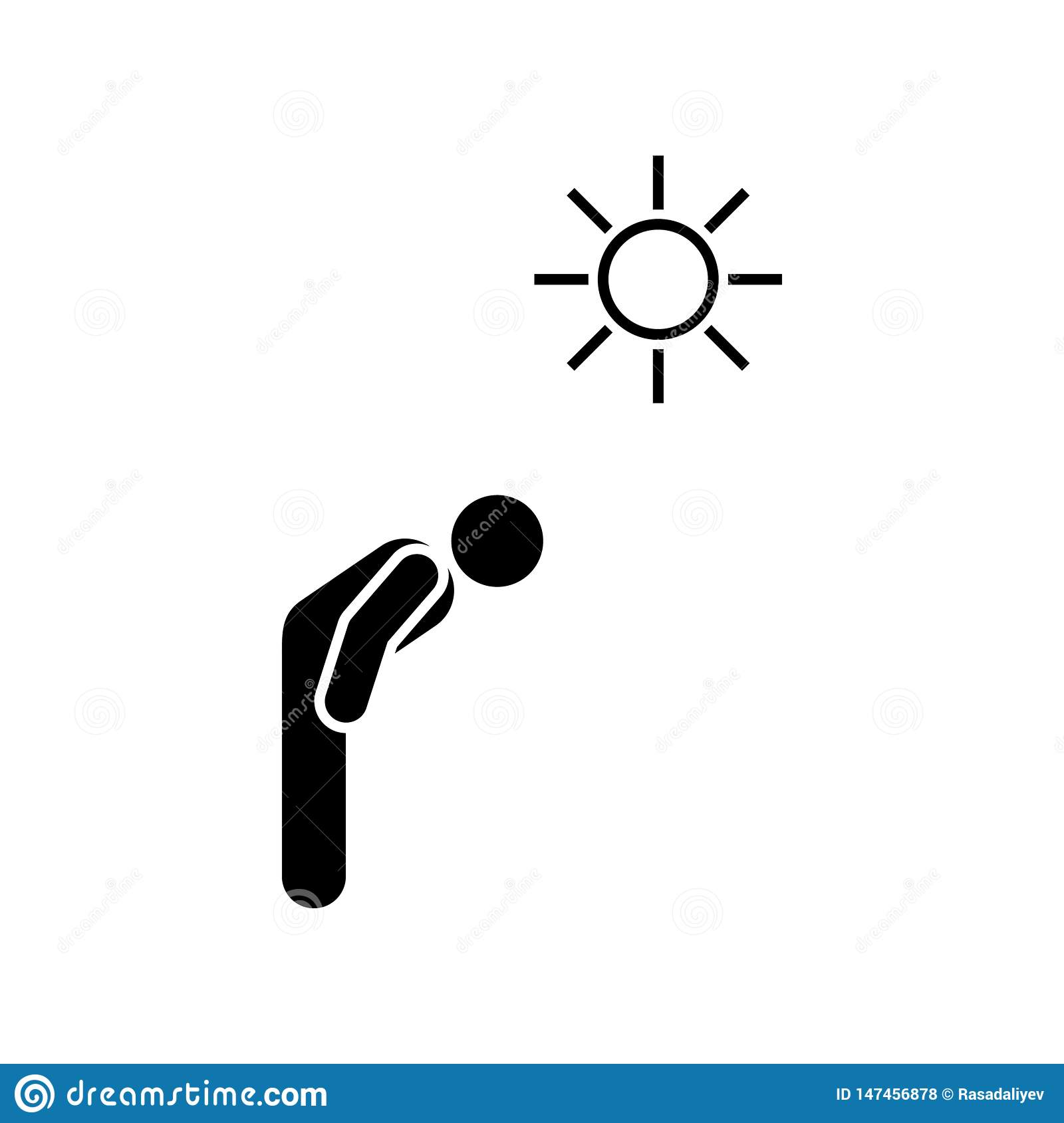 Man, sun, overheat icon. Element of systemic lupu icon. Premium quality graphic design icon. Signs and symbols collection icon for