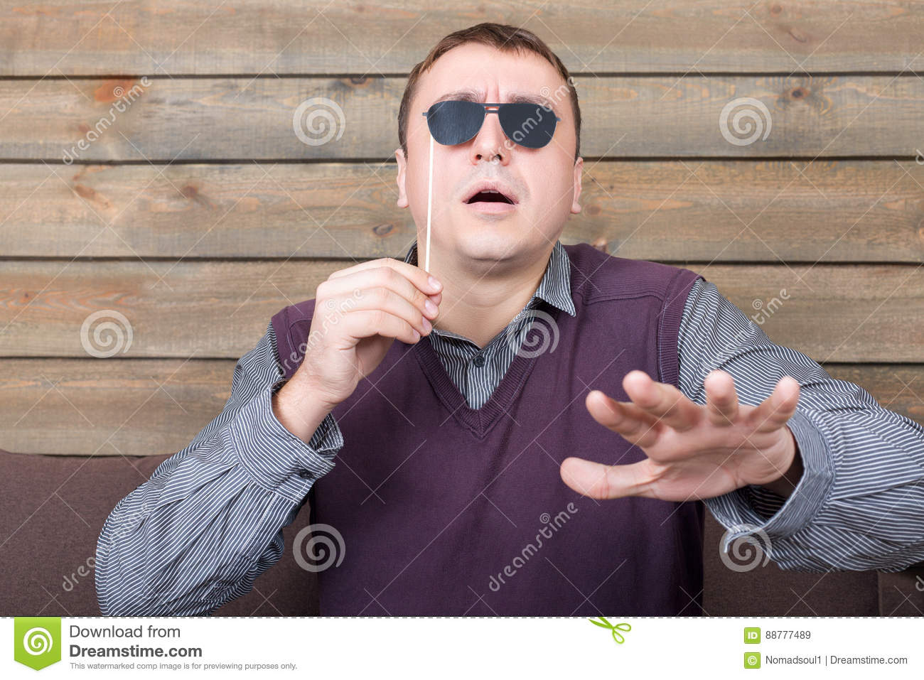 Man With Sunglasses Represents The Blind Person Stock Image Image