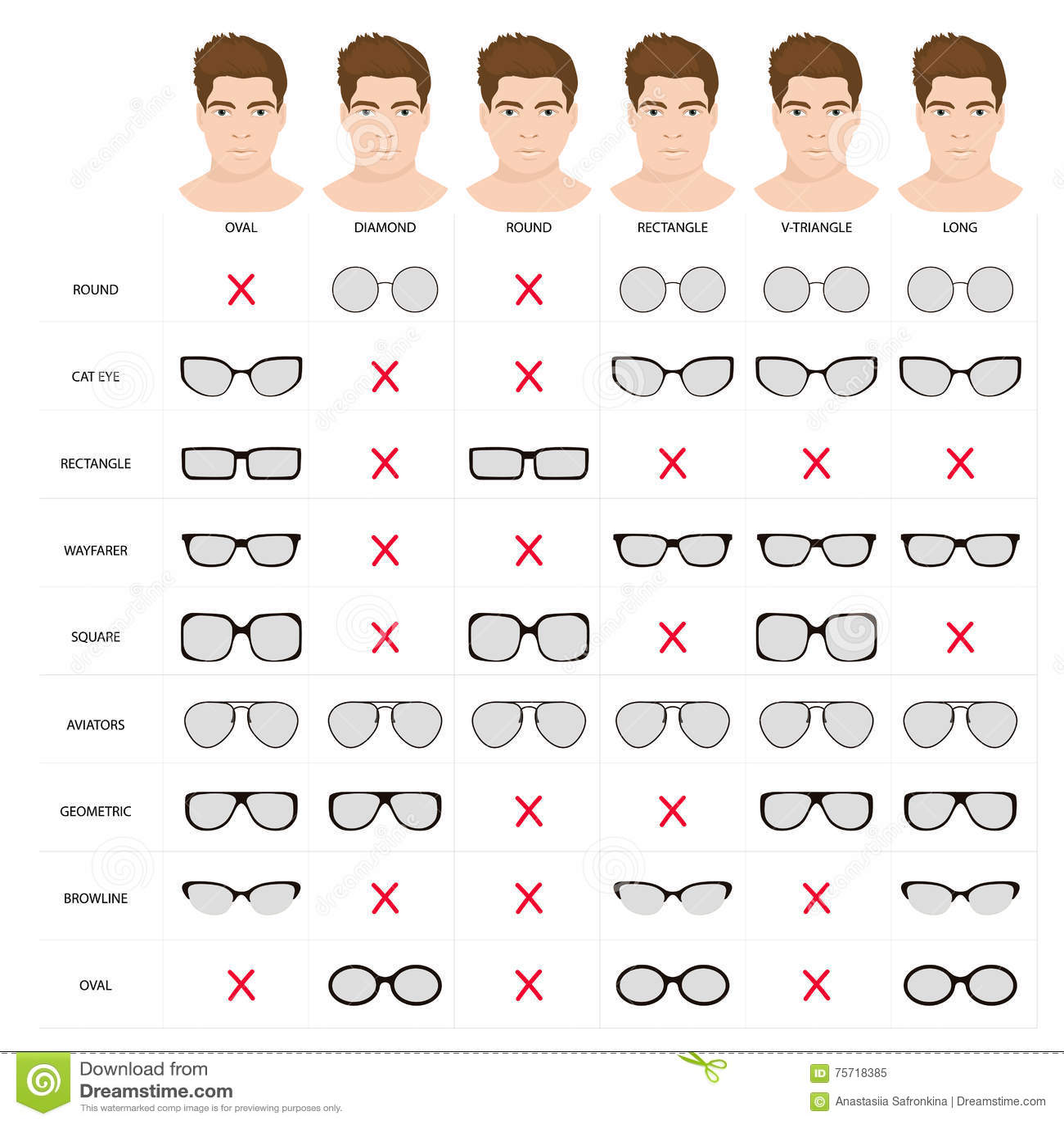 Man sunglasses shapes 5. stock illustration. Illustration ...