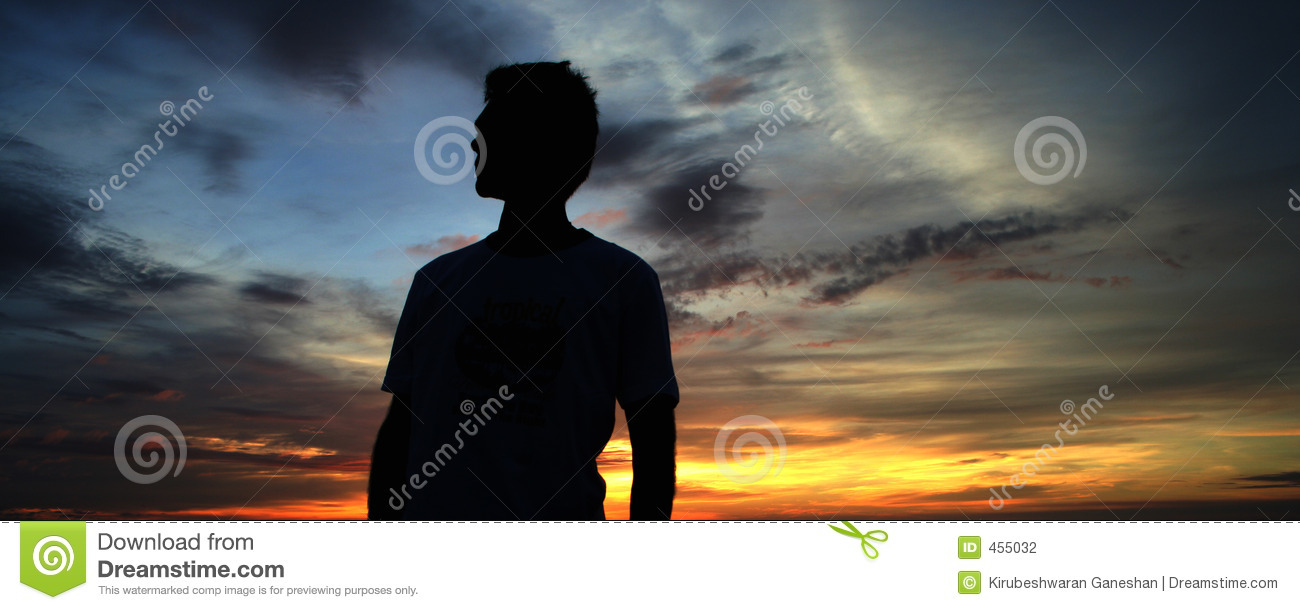 Download Man and sunset stock photo. Image of feeling, blue, arms - 455032