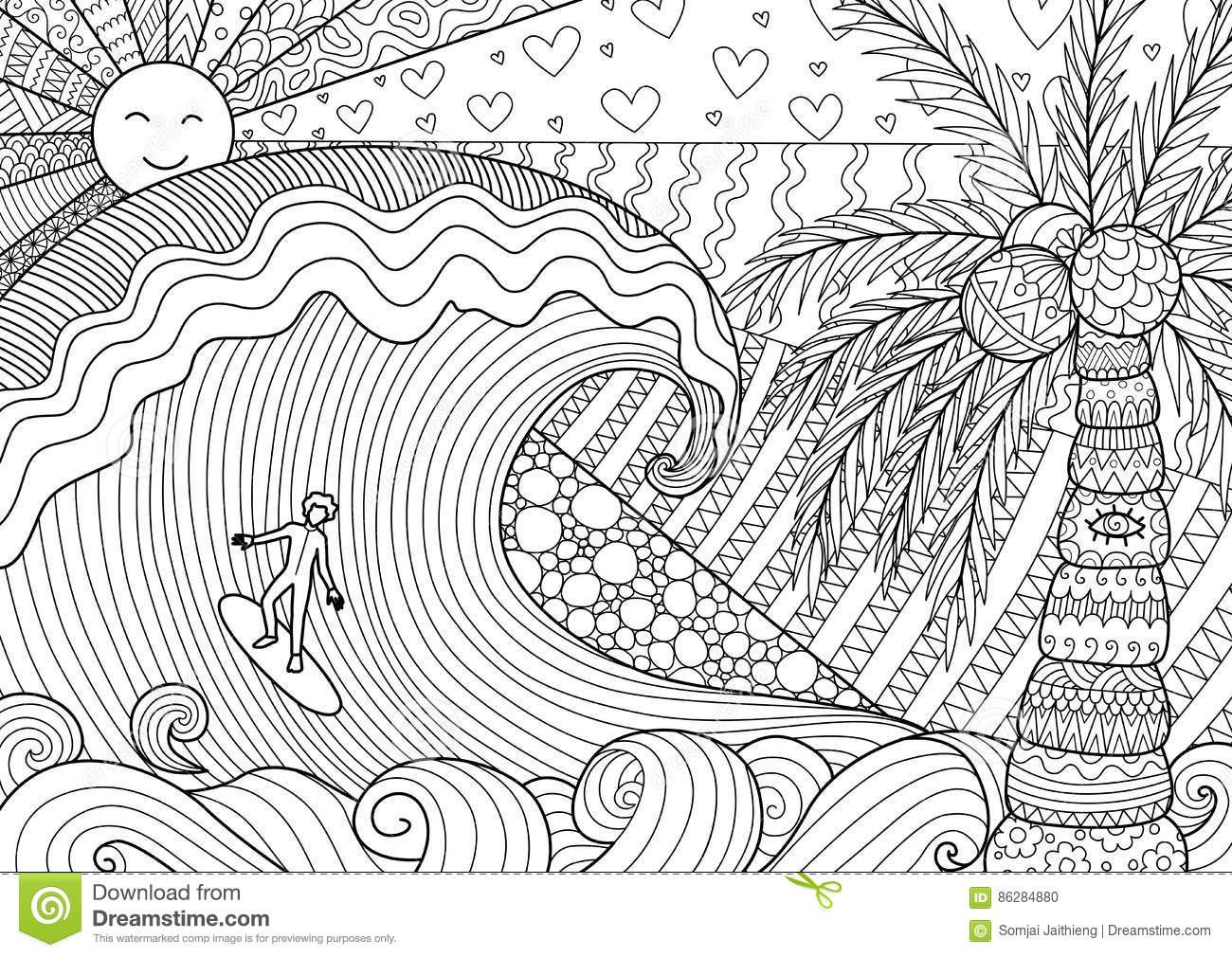 A man surfing on big wave for adult coloring book for anti stress