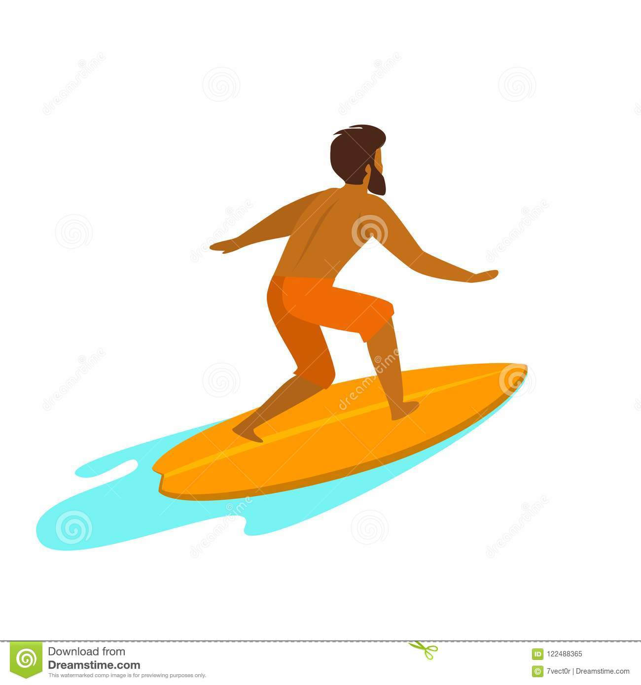 Man surfing isolated backside view vector