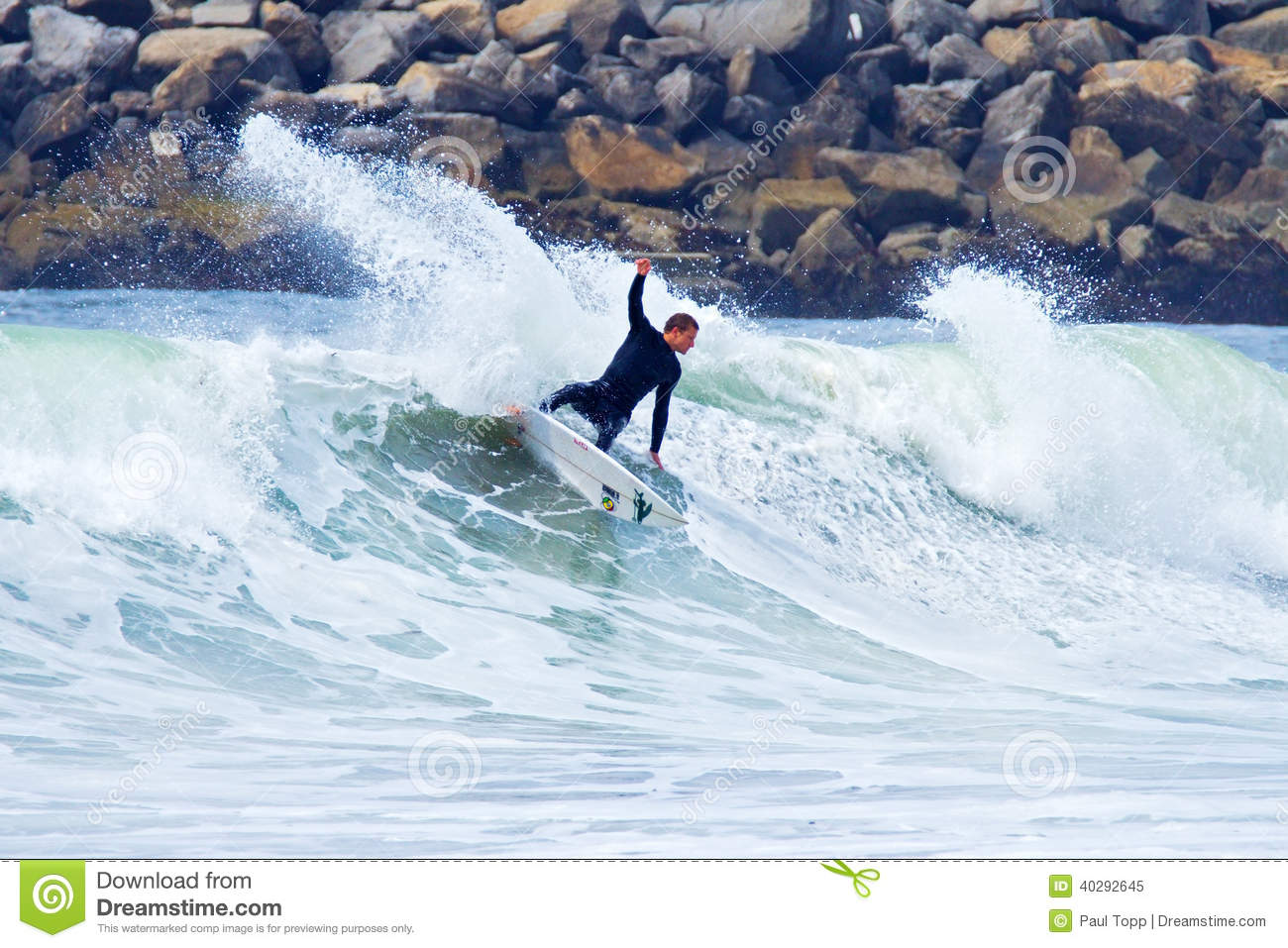 Surfer Kyle Jouras Surfing In Santa Cruz, California ...