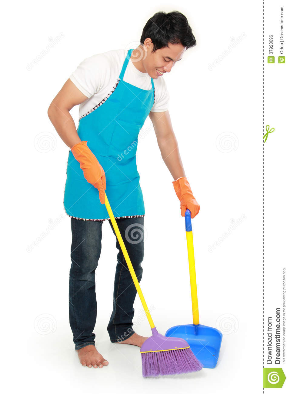 Man sweep floor stock photo image of brush household for To floor someone