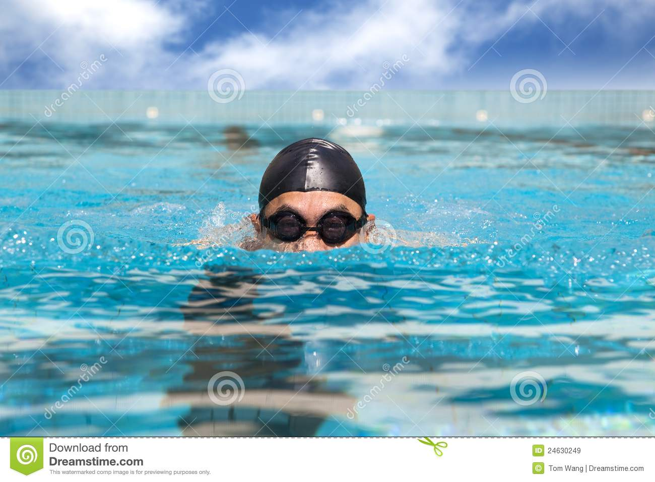 Athletic man swimming in the pool stock photography for Pool man show