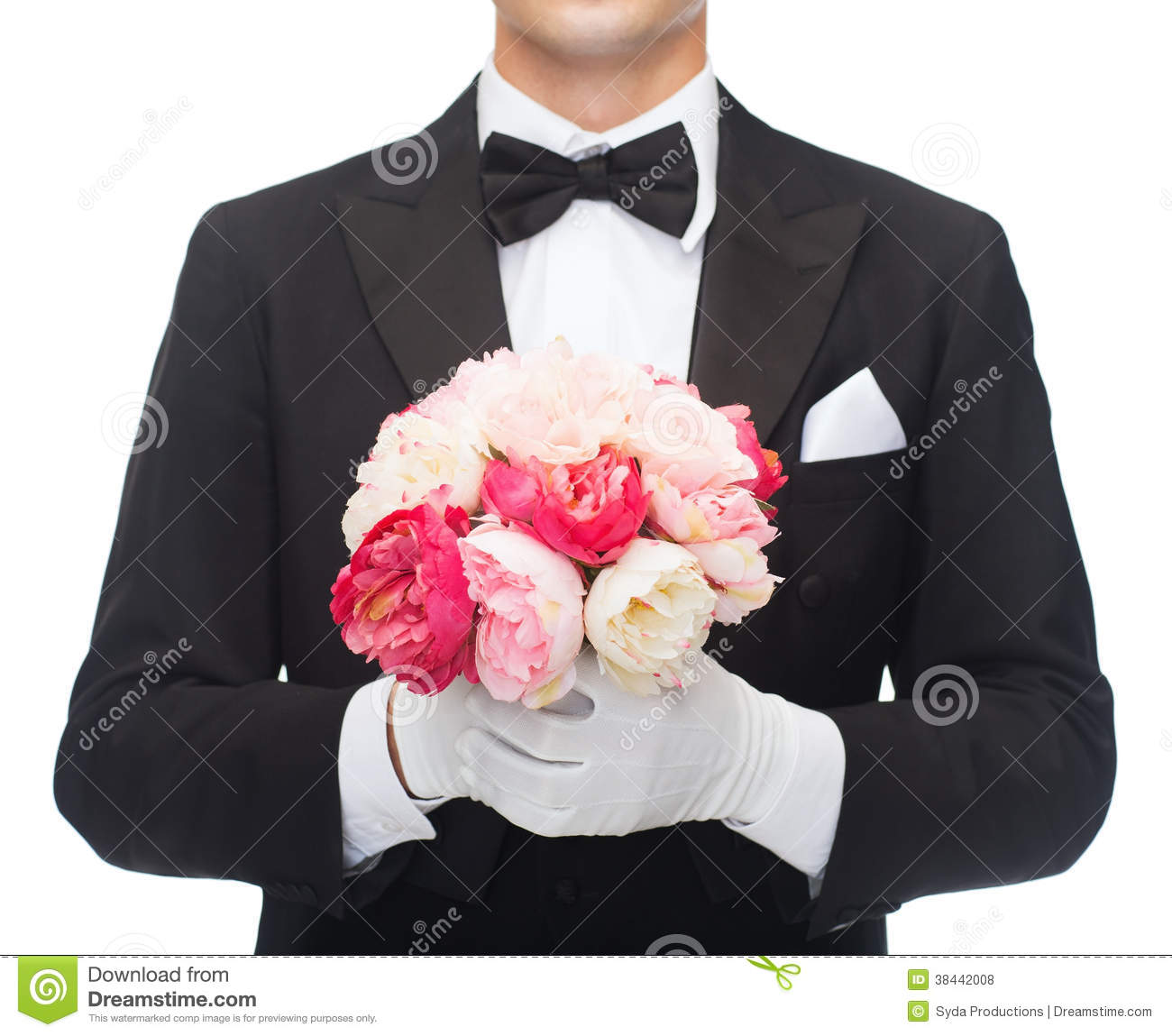 Man in tail coat with flower bouquet royalty free stock for Bouquet de fleurs homme