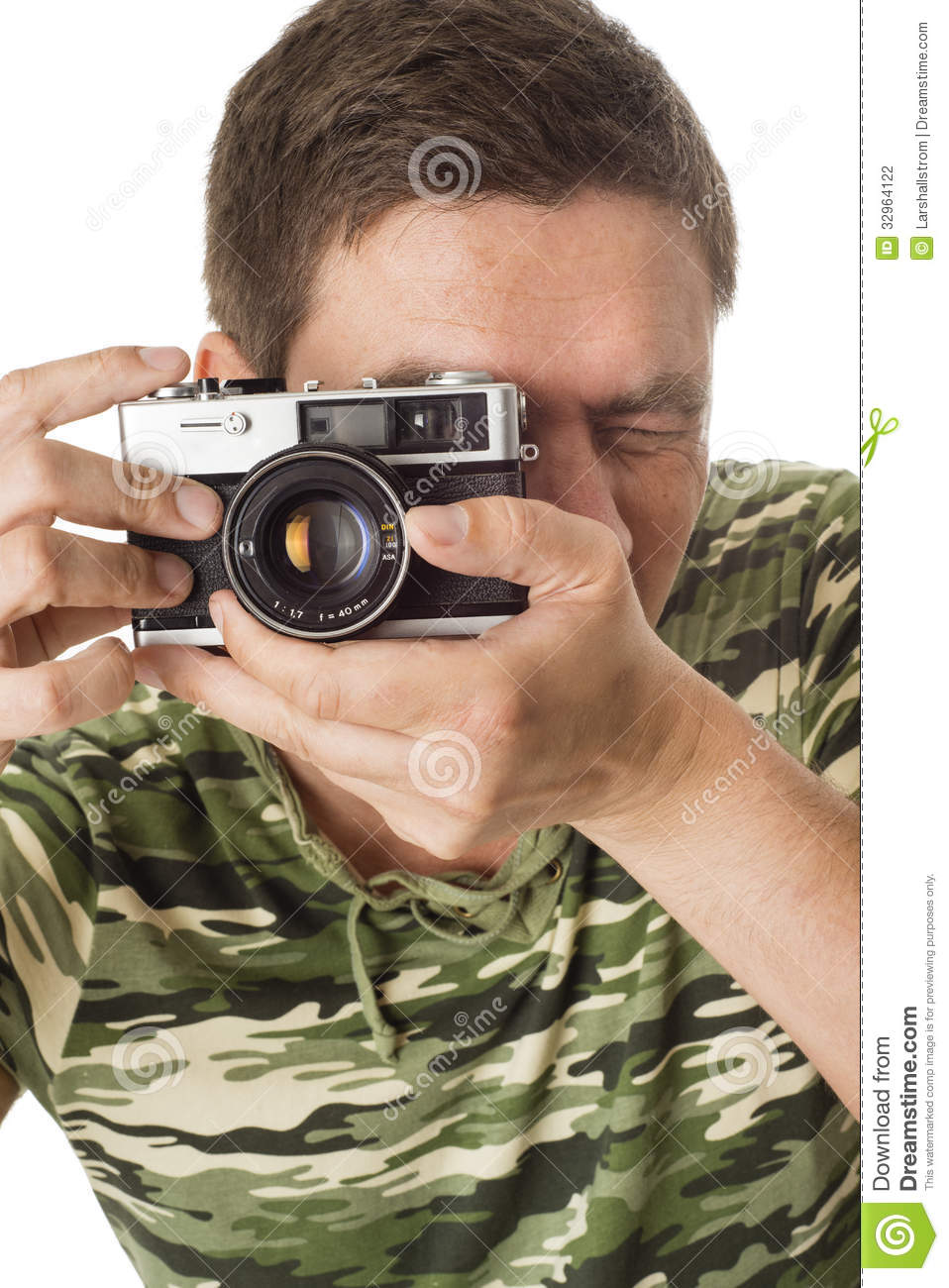 Man Taking Pictures With Retro Camera Stock Photo - Image ...