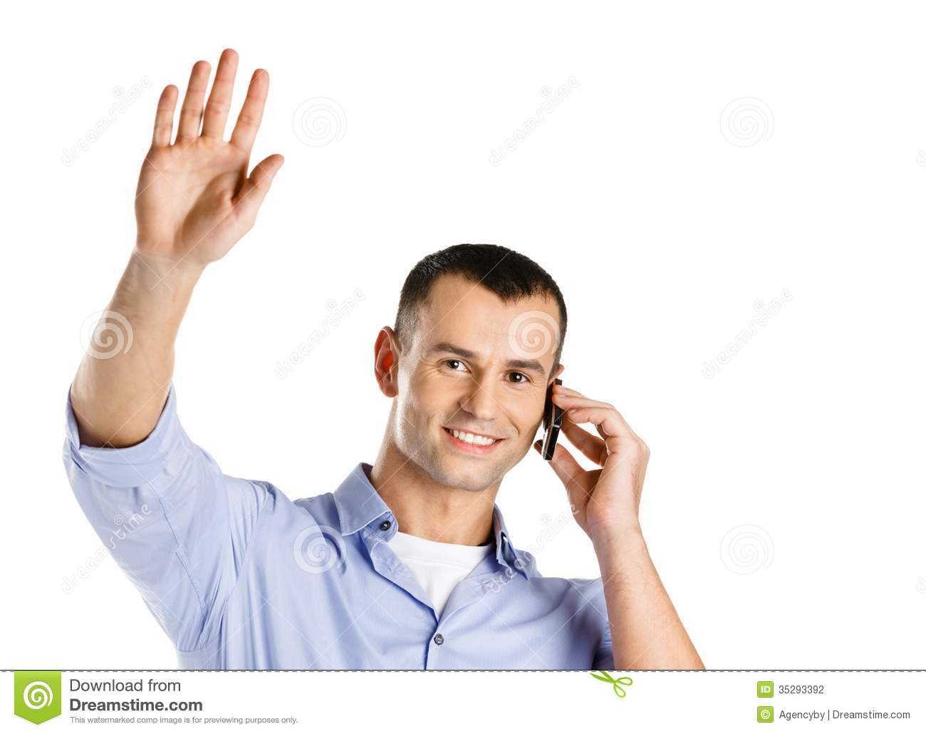 Man Talking On The Cell Phone Waves The Hand Stock Photography - Image ...