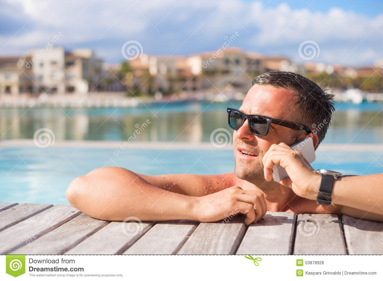 Download Man Talking On Phone While Relaxing In The Swimming Pool Stock Photo - Image of calling, enjoy: 53878926