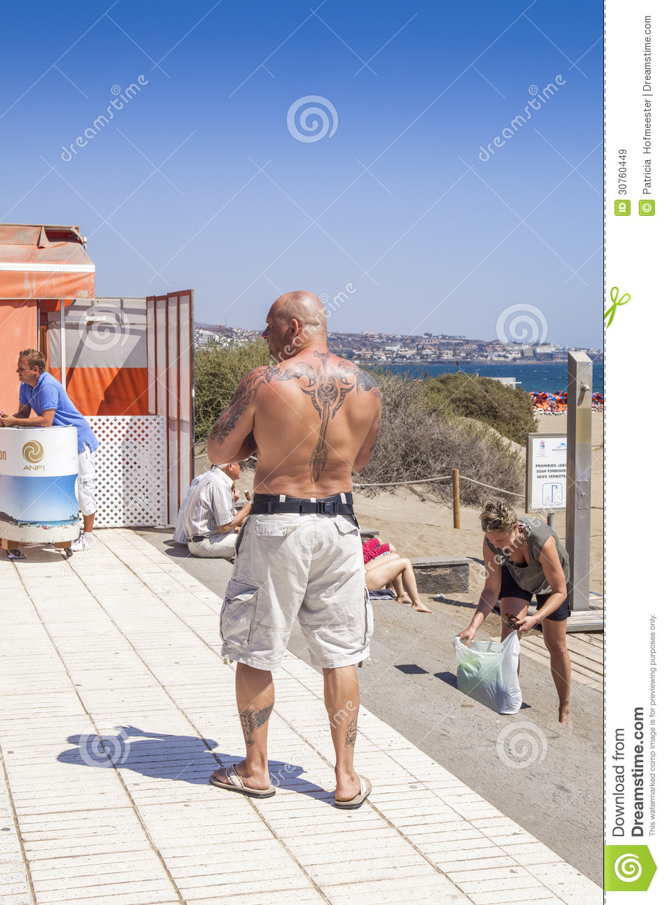 Man with tattoos on back editorial stock image image - Standing canarias ...