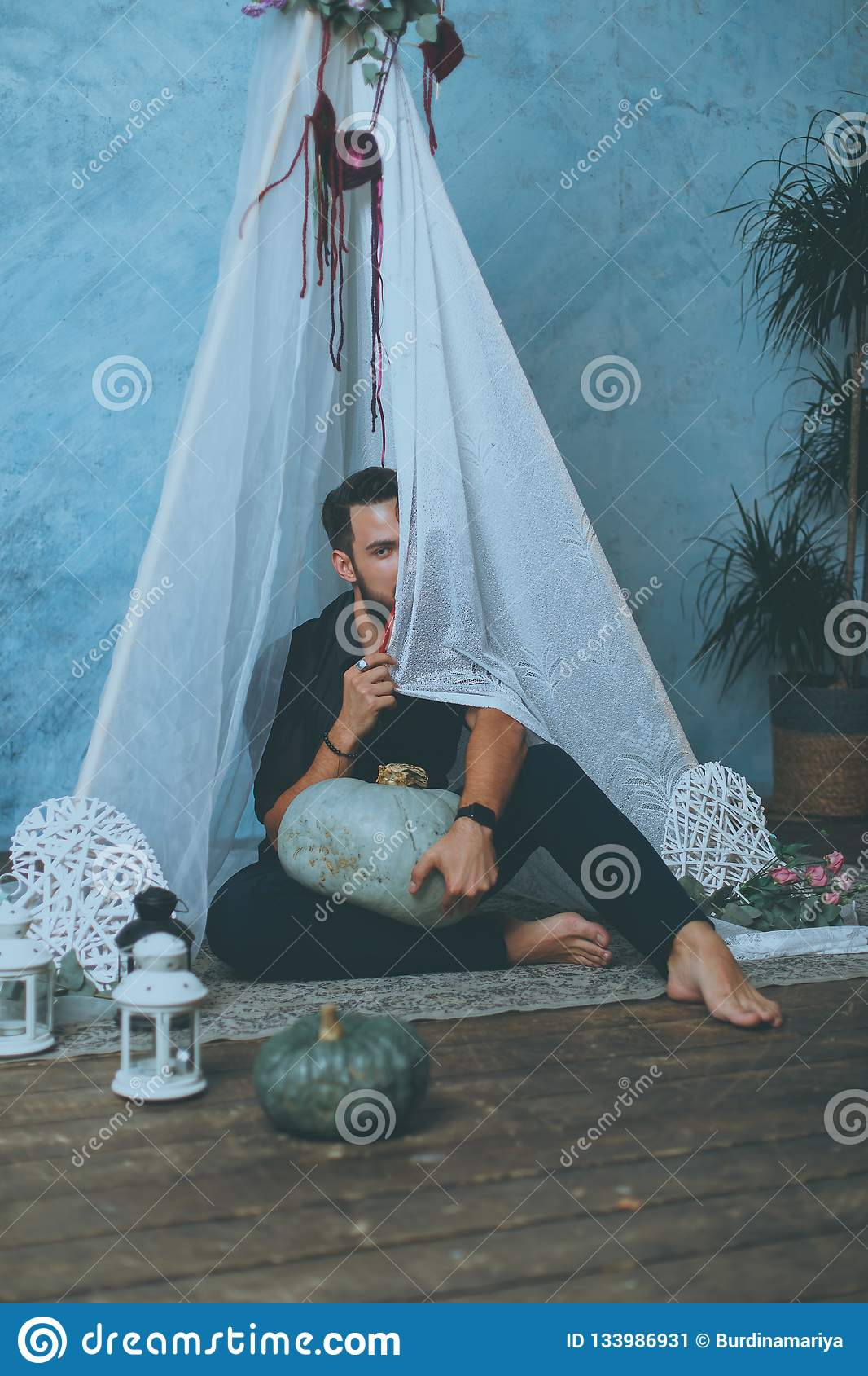 Man in a teepee