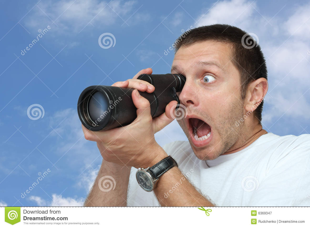 Man With Telescope Stock Image. Image Of Astonishment