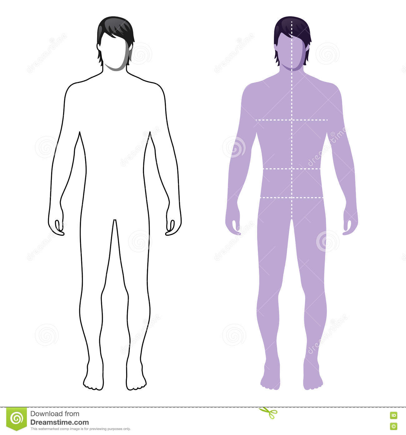 Fashion Man Full Length Outlined Template Figure Silhouette With Marked Bodys Sizes Lines Front View Illustration Isolated On White Background