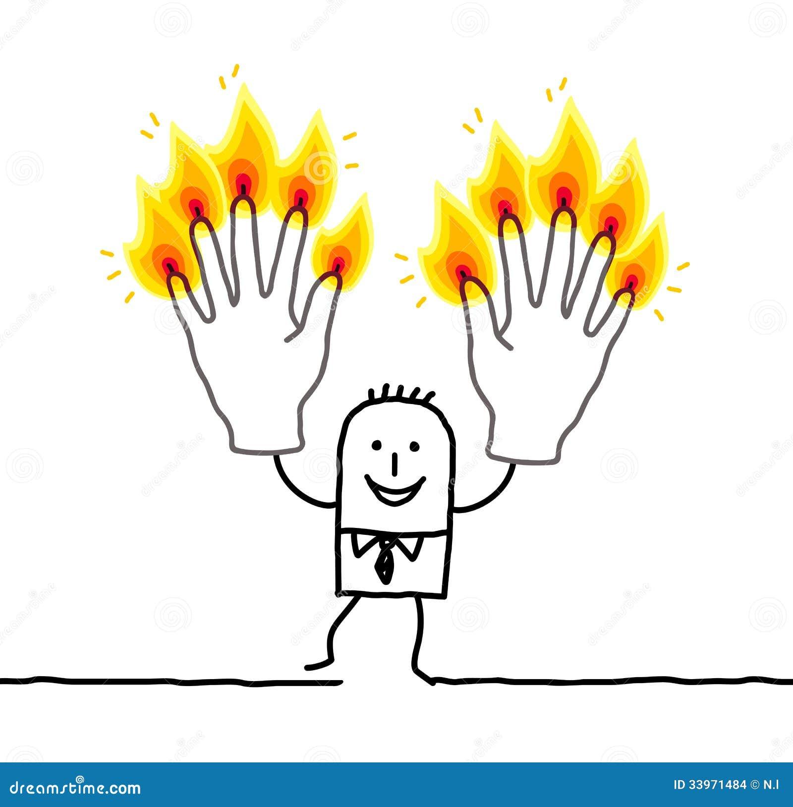 Cartoon Characters 3 Fingers : Man with ten burning fingers stock vector image