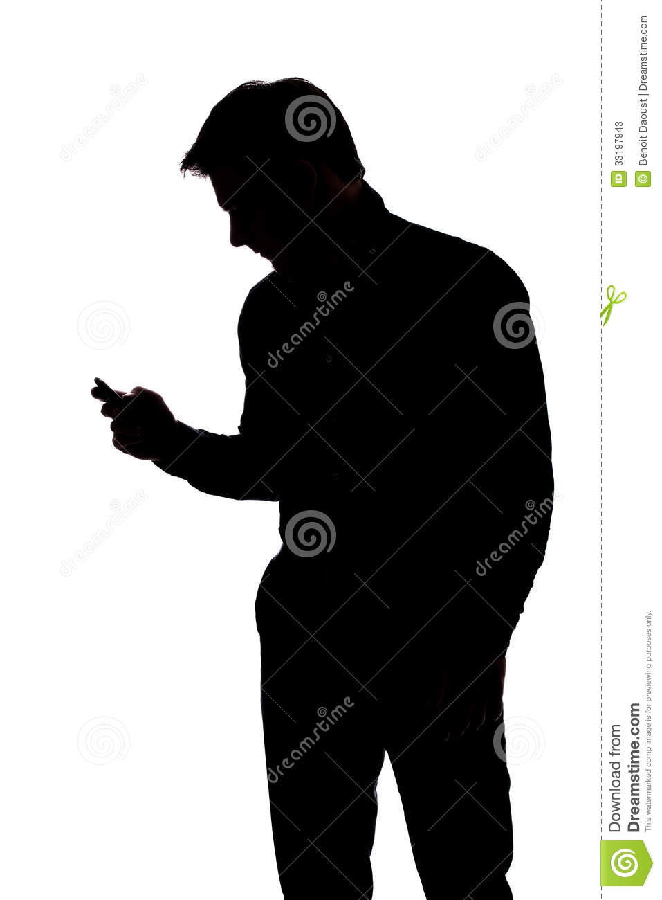 Man texting with one hand in silhouette isolated over white background ...
