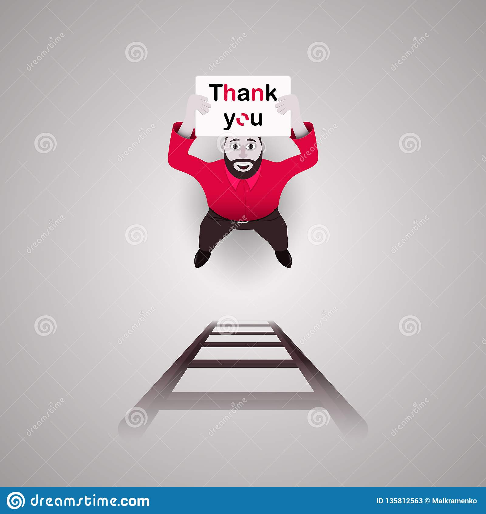 The male character, a man, is holding a poster that says `Thank you.` To help him down the stairs. Vector illustration.