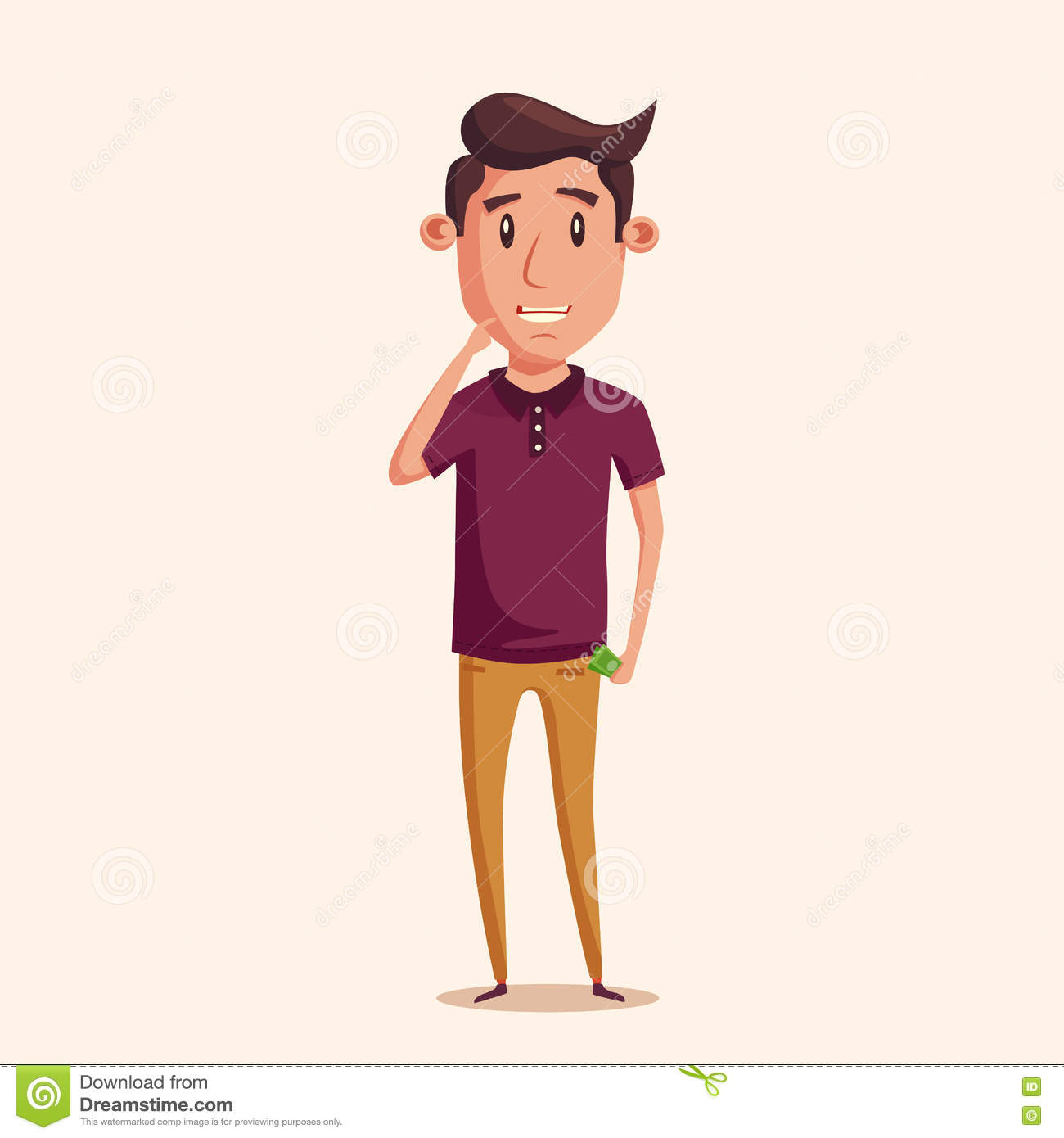 Cute Character Design Illustrator : Man thinking of choice money for spending vectro cartoon