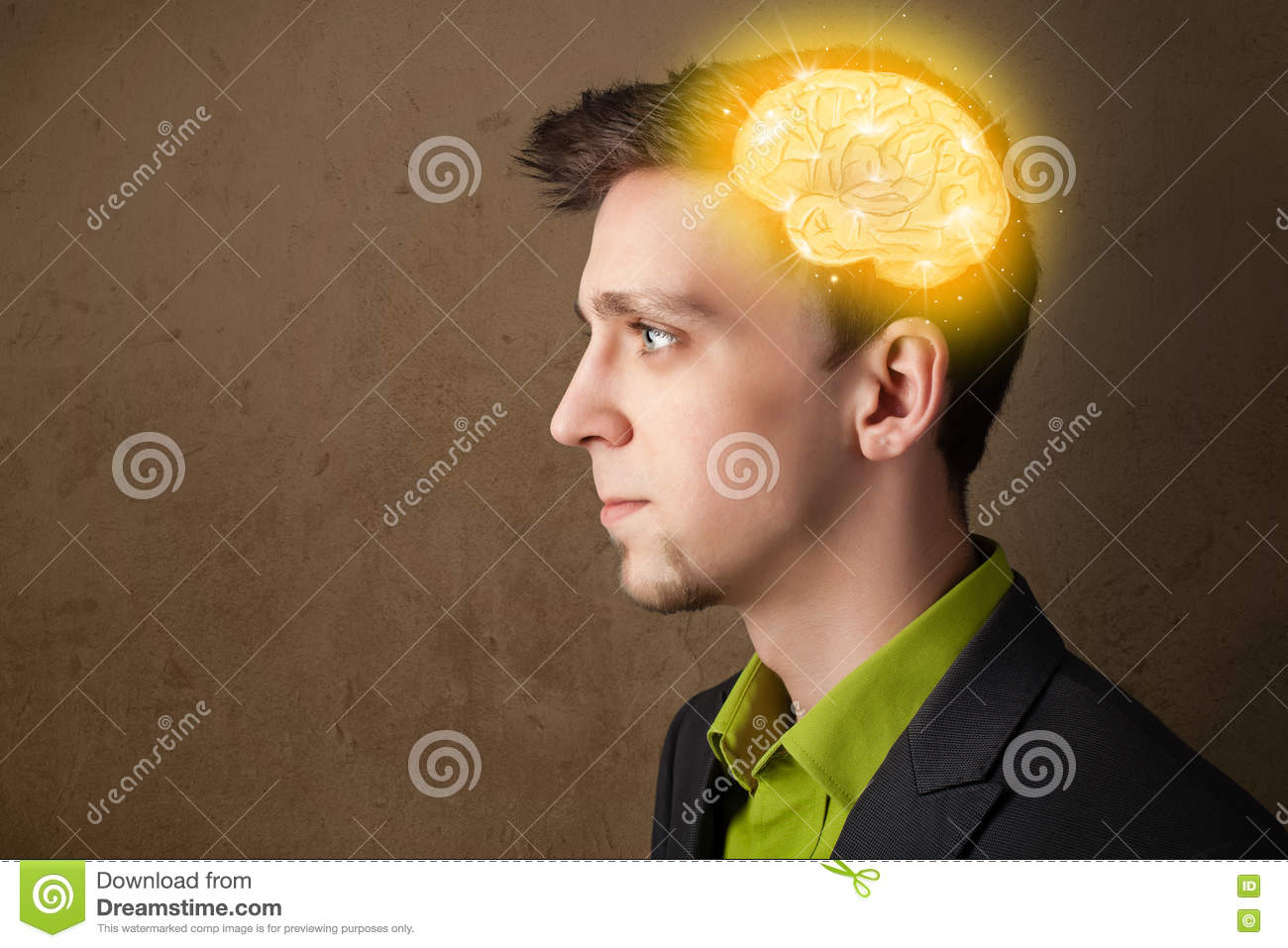 Download Man Thinking With Glowing Brain Illustration Stock Image - Image of expression, brain: 72975989