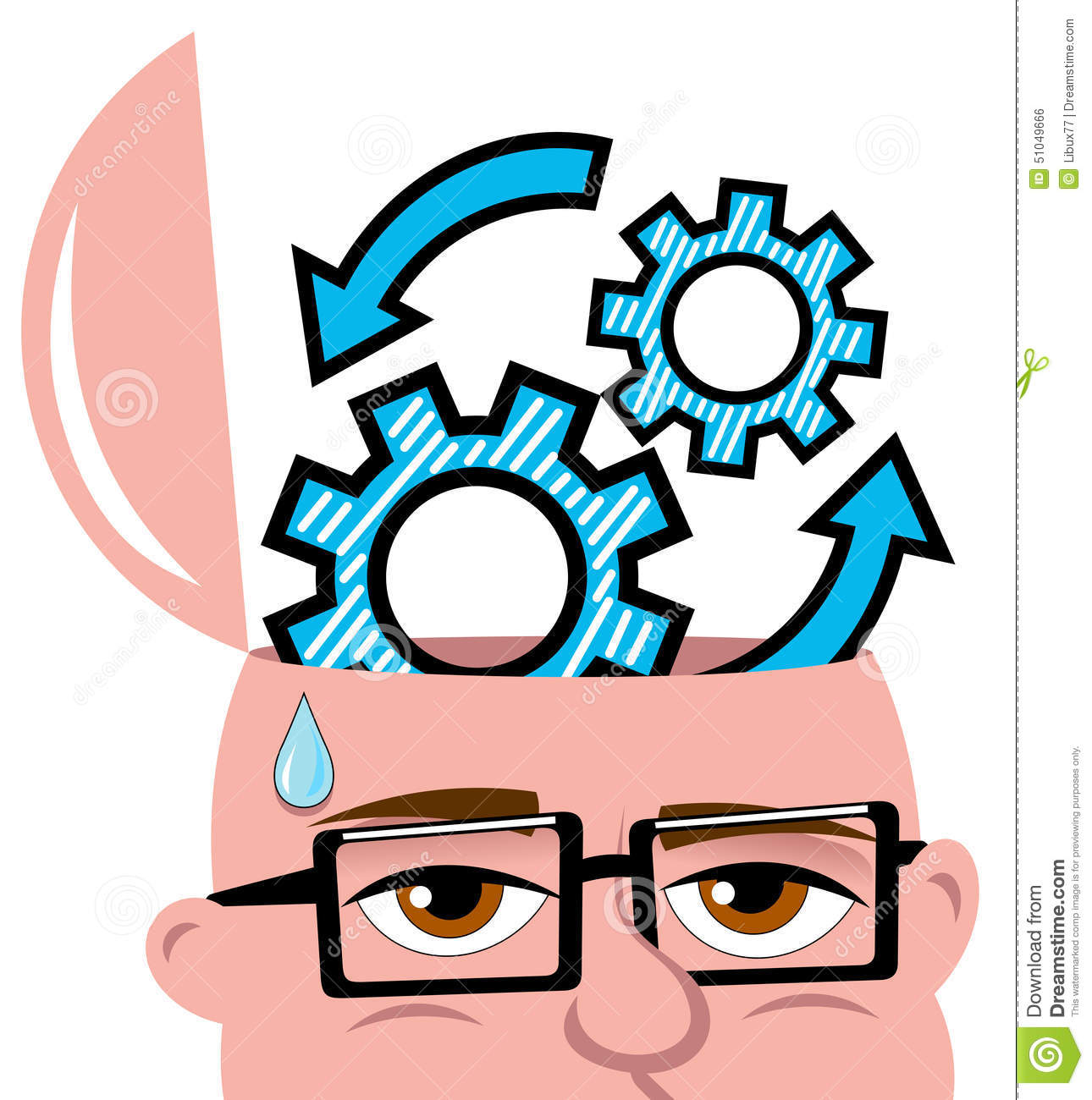 Man Thinking Idea Open Minded Gears Isolated Stock Vector - Image ...