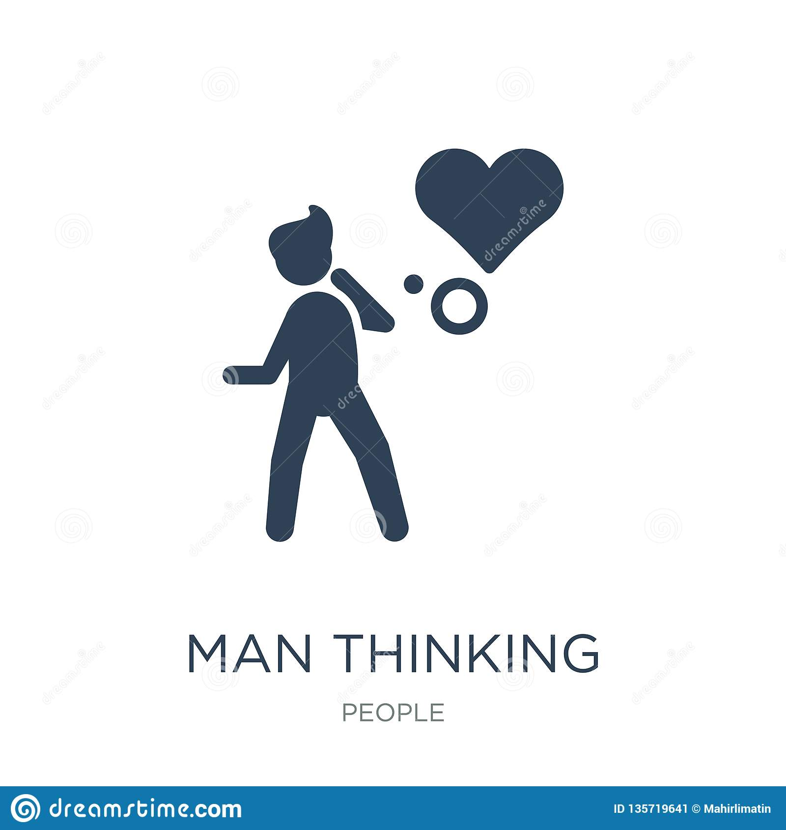 man thinking about love icon in trendy design style. man thinking about love icon isolated on white background. man thinking about