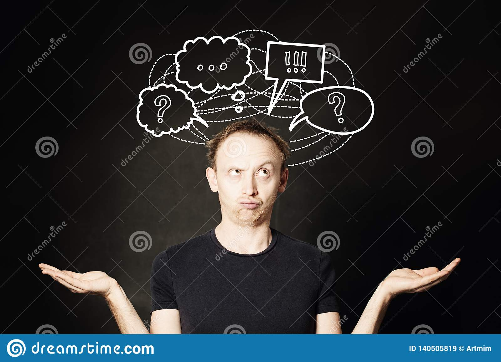 Man thinking with question mark and hand drawing sketch bubble on blackboard background. Choice, problem and solution concept