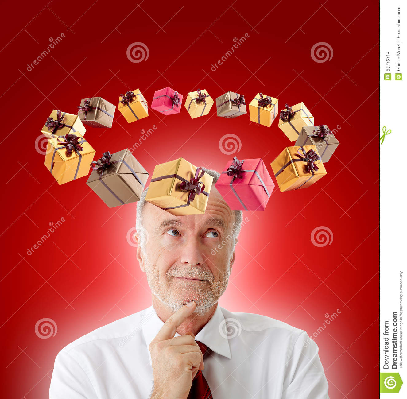 Man thinking what to buy for christmas stock photo for What to buy men for xmas