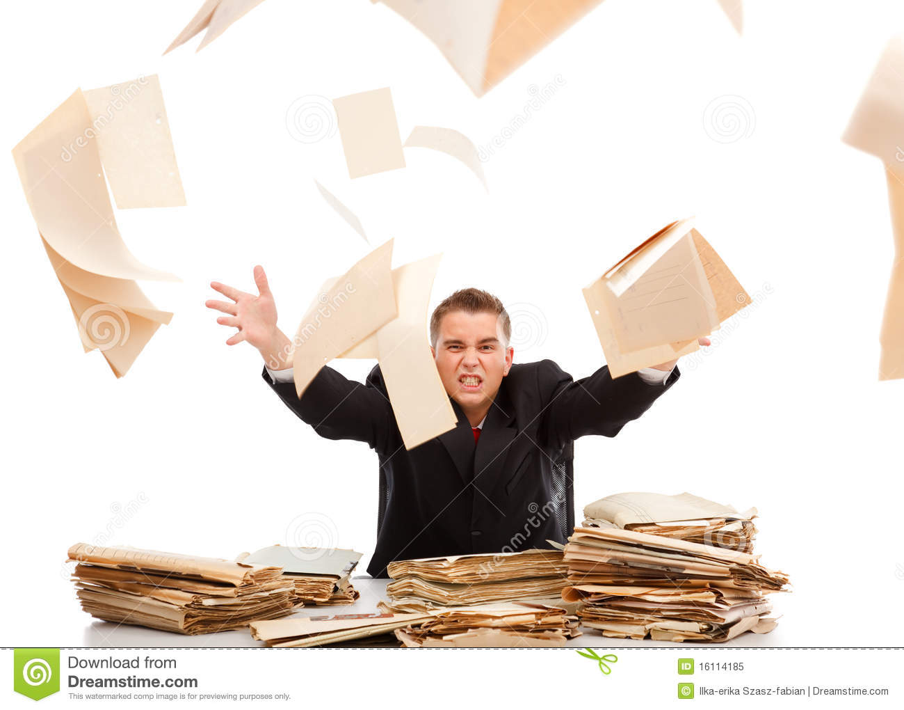 Download Man Throwing Away Paperwork Stock Image - Image of file, document: 16114185