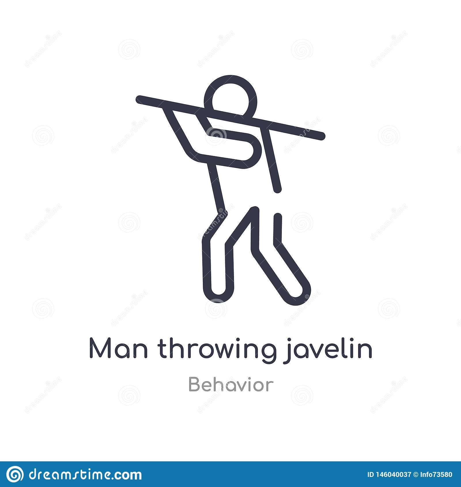 man throwing javelin outline icon. isolated line vector illustration from behavior collection. editable thin stroke man throwing