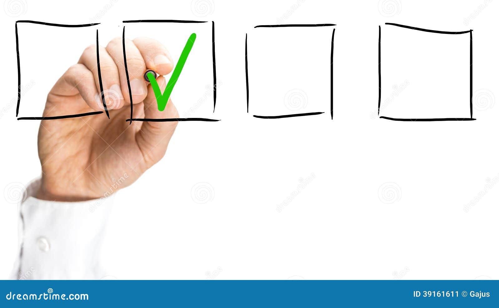 Man ticking a check box on a virtual interface stock image image man ticking a check box on a virtual interface biocorpaavc Gallery