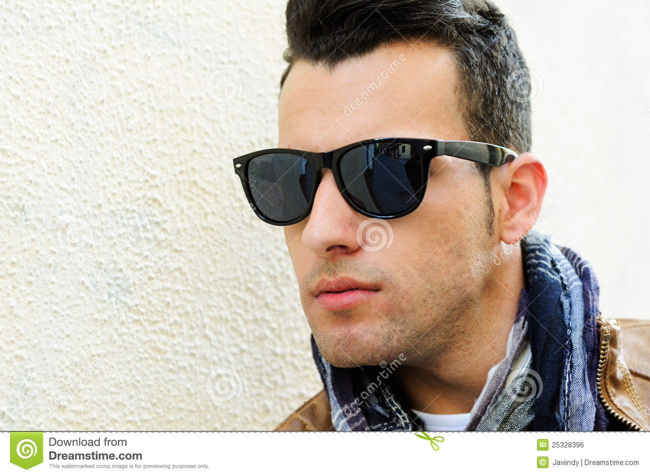 caucasian adult casual gray background glasses