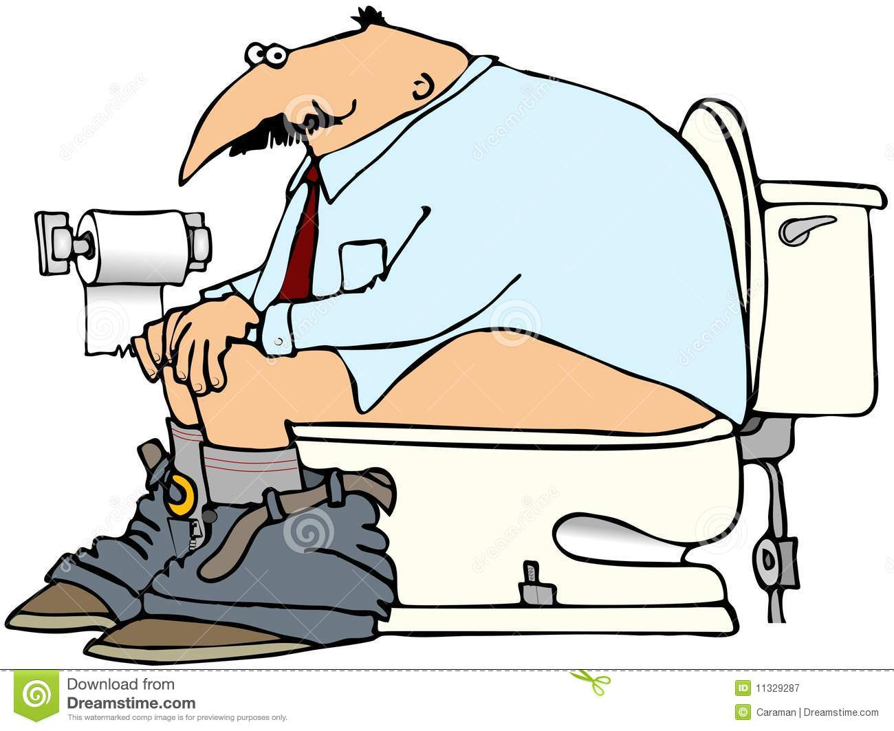 Man On A Toilet Stock Illustration Illustration Of